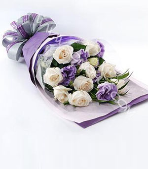 10枝白玫瑰/戀紫