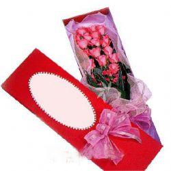 19枝粉玫瑰/真挚: 19支粉玫瑰,绿叶搭配