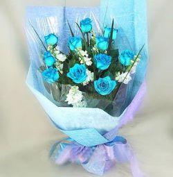 11枝蓝色妖姬/爱你无悔: 11枝蓝色妖姬,宛香玉,绿叶