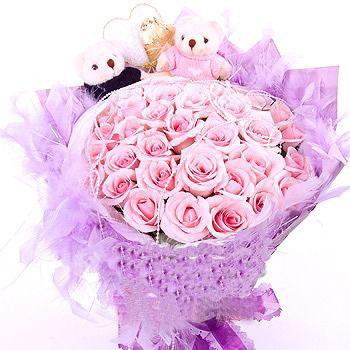 36枝粉玫瑰/携手一生