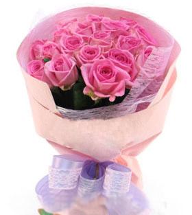22枝粉玫瑰/爱相随