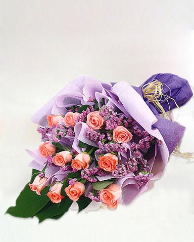 12枝粉玫瑰/靈犀