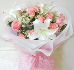 12枝粉玫瑰/美��心情