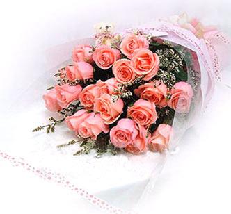 18枝粉玫瑰/一生相戀