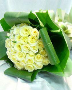 33枝白玫瑰/爱人: 33枝白玫瑰,巴西木叶折叠围边,外围水晶大叶;
