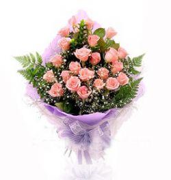 24枝粉玫瑰/天长地久