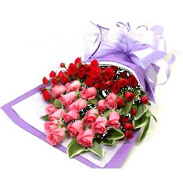 18枝粉玫瑰/假日陽光