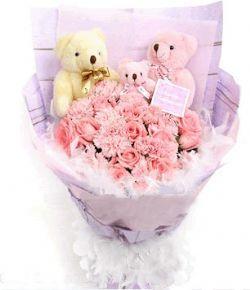 12枝粉玫瑰/朝朝暮暮: 12枝粉玫瑰加12支粉色康乃馨,精美小熊3只