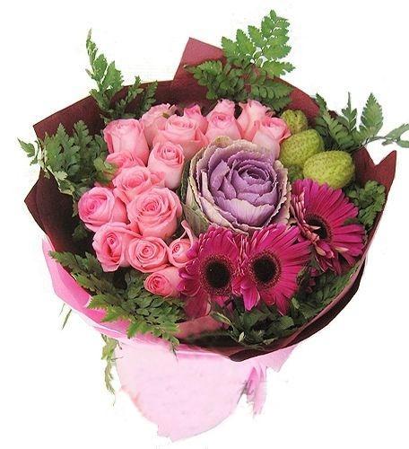 16枝粉玫瑰/簡單愛