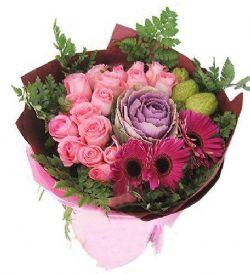 16枝粉玫瑰/简单爱