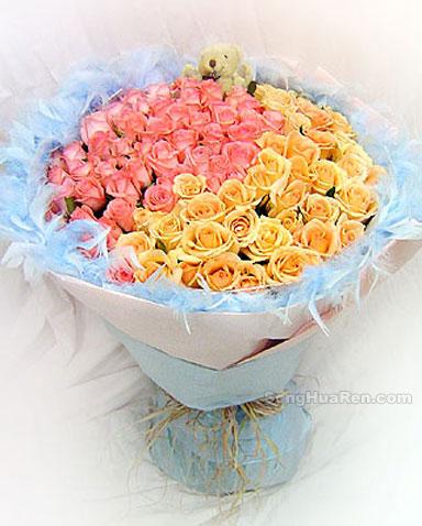 99枝粉玫瑰/伊甸園