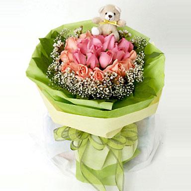9枝粉玫瑰/快樂理由