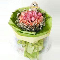 9枝粉玫瑰/快乐理由