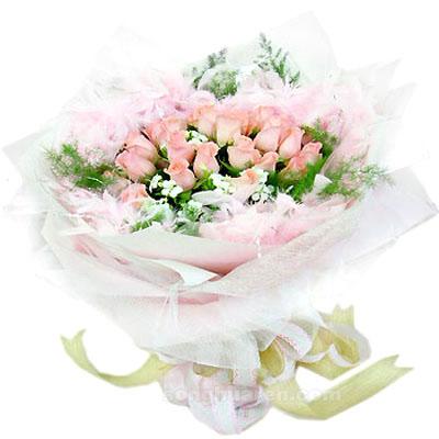 26枝粉玫瑰/美好时光: 26枝粉玫瑰,满天星,绿叶。