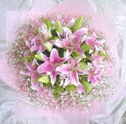 8枝粉百合/说你爱我吧: 8枝多头粉色香水百合,满天星饱满