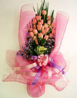 27枝粉玫瑰/爱妻: 27枝粉玫瑰,配绿叶、紫色雏菊;