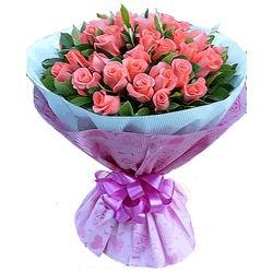 33枝粉玫瑰/傾心愛你