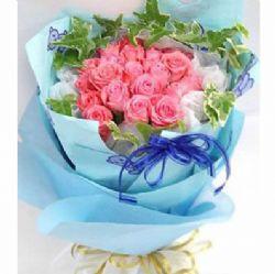 22枝粉玫瑰/�粝氤烧�