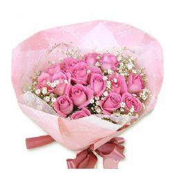 22枝粉玫瑰/充满幸福的人生