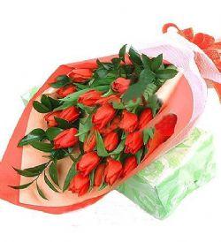 20枝红色郁金香/倾慕你: 红色郁金香20支,绿叶点缀