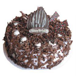 巧克力蛋糕/树屑(8寸): 黑巧克力屑装饰外层,港式蛋糕内坯,水果夹心