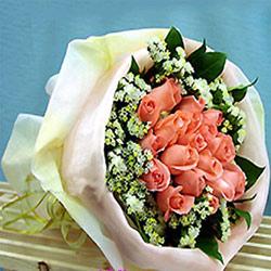 16枝粉玫瑰/温情绽放
