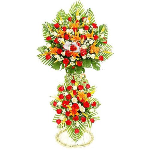 开业花篮/财源若海: 红玫瑰、白玫瑰、金黄色百合、天堂鸟、小雏菊、散尾葵、绿叶丰满