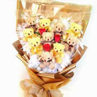 10只小熊/金色年华: 10支可爱小熊仔,3支红玫瑰,(小熊颜色仅供参考,以当地货品颜色为准).
