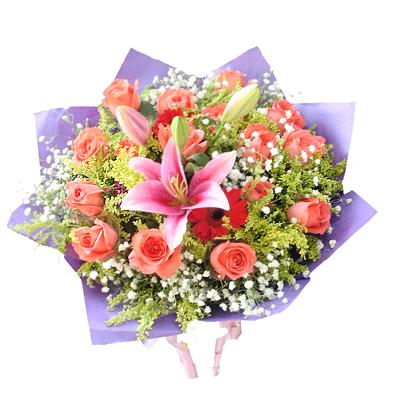 16枝粉玫瑰/爱的祝福: 16枝粉玫瑰,1枝粉香水百合,满天星,黄莺