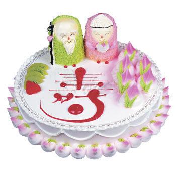 祝寿蛋糕/福寿双全(8寸): 水果奶油夹心