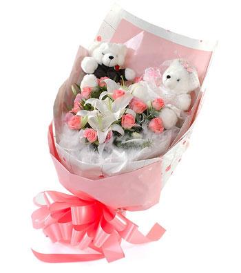 11枝粉玫瑰/天地情缘