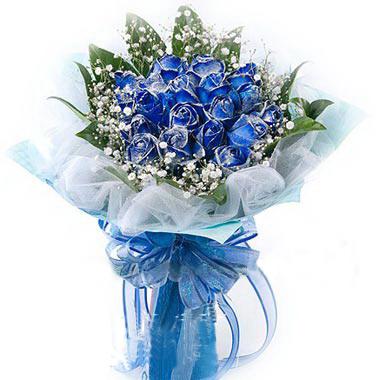 19枝蓝色妖姬/有你的幸福: 19枝蓝色妖姬 外围巴西叶  满天星