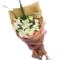 5枝白玫瑰/百合情�