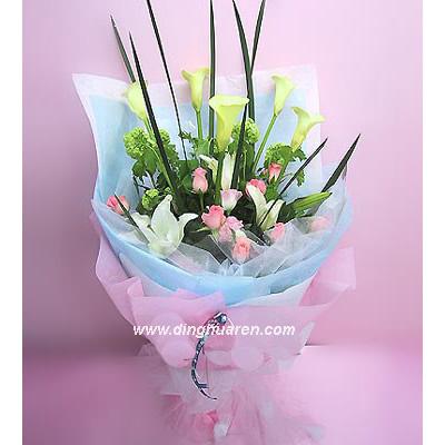 15枝粉玫瑰/柔情密语