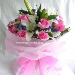 19枝粉玫瑰/就是爱你
