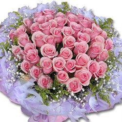 99枝粉玫瑰/砰然心��