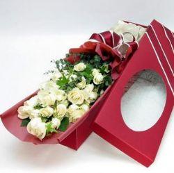 21枝白玫瑰/用心爱你