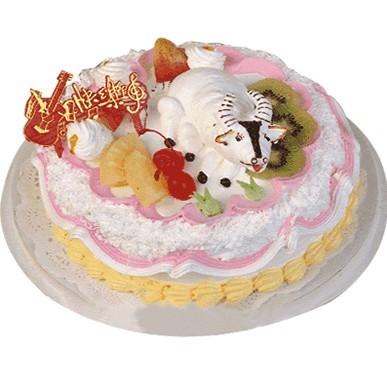 """鲜奶蛋糕/踏实耕耘(8寸): 植物鲜奶蛋糕,蛋糕表面用各种时令水果装饰,生肖为""""牛"""""""