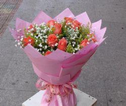 11枝粉玫瑰/爱你一生一世