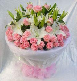 66枝粉玫瑰/幸福密�a
