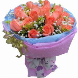 18枝粉玫瑰/我��的�s定
