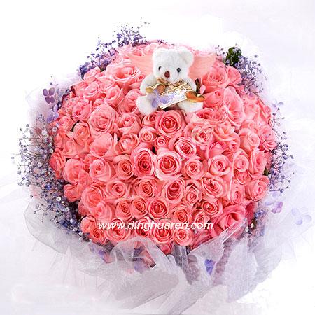 99枝粉玫瑰/爱你一生
