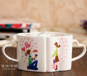 骨瓷情侣杯/韩国创意杯子 marry me 恋爱对杯
