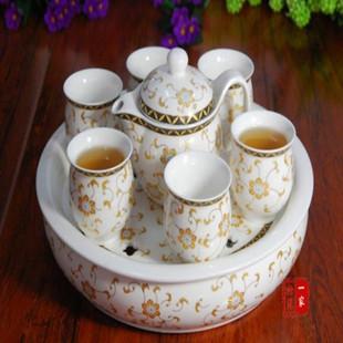 景德镇陶瓷茶具/茶具套装/双层骨瓷/茶盘/送礼盒