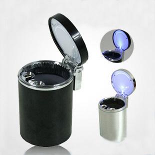 创意时尚车用烟灰缸 阻燃车载节能LED蓝光灯 汽车烟灰缸