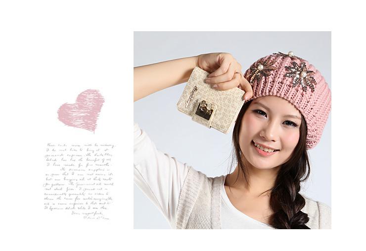 tangle2011新款韩版蝴蝶花搭扣水晶淑女卡通可爱女式钱包票夹