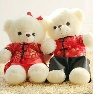 正版 毛绒玩具熊 泰迪熊 唐装熊 婚纱熊 情侣熊 结婚熊 压床娃娃