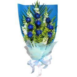 9枝蓝玫瑰/蓝色雨