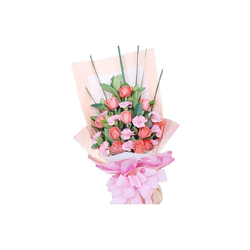 11枝粉玫瑰/爱你: 11枝粉玫瑰,11枝粉康乃馨,绿叶适量搭配