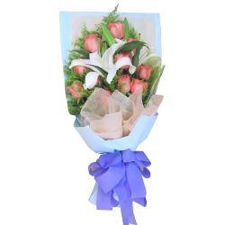 11枝粉玫瑰/真爱一生